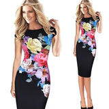 Fashion Elegant Dress Women Vintage Slim Sexy Bandage Office Party Dress  Printed Flower Dress XXL XXXL 4XL 5XL