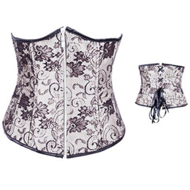 Sexy Corset Women embroidery Waist trainer Plus Size Corsets And Bustiers Front zipper Underbust Waist Cincher Slimming