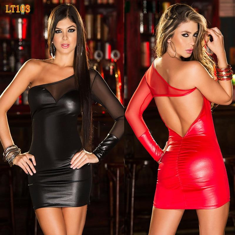 Women Sexy Mesh PVC Erotic Leotard Costume Black Faux Leather Mini Party Dress PVC Clubwear Sexy Latex Wet Look Dress Backless