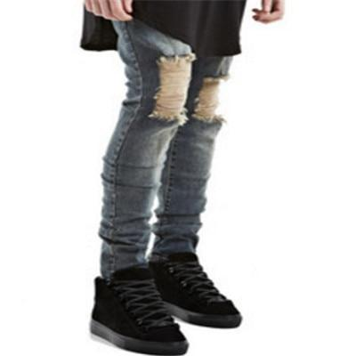 Free shipping Summer Fashion Ripped New Biker Slim Jeans Motorcycle Style Elastic Men Jeans Slim Fit Washed Pants  Destroyed Men Pant
