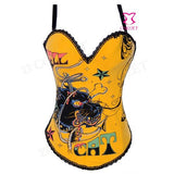 Free shipping Hell Cat Print Overbust Burlesque Corset Bustier Yellow/White/Purple/Gray Cotton Overbust Corset  Sexy