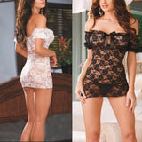 Sexy Lingerie Women's Lace Dress Babydoll Sleepwear G-string Nightwear