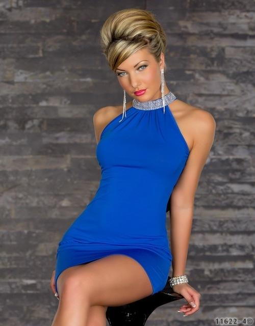 Black Blue Halter short skirt nightclub fashion plus size clubwear