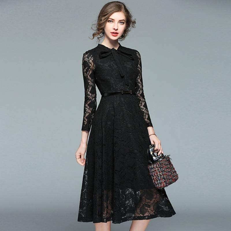 Dress Female Spring New  S-XXL Long Sleeve Lace Slim High Waist Black Dresses For Women High Quality