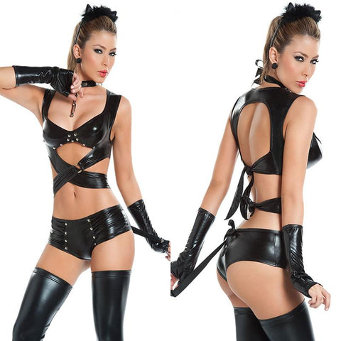 Sexy Women Halloween catwoman Costumes  Imitation Leather latex Cat Women Cosplay Club Evening Party Wear