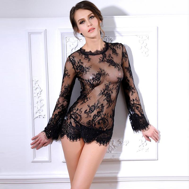 Sexy Sheer Lace Blouse Shirt See Through Top Tee Naughty Lingerie Chemise Outfit