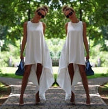 Women Summer Bohemian White Irregular Beach Dress Loose Flare Plus Size Tunic Female Sleeveless Beachwear Boho Gowns Dresses