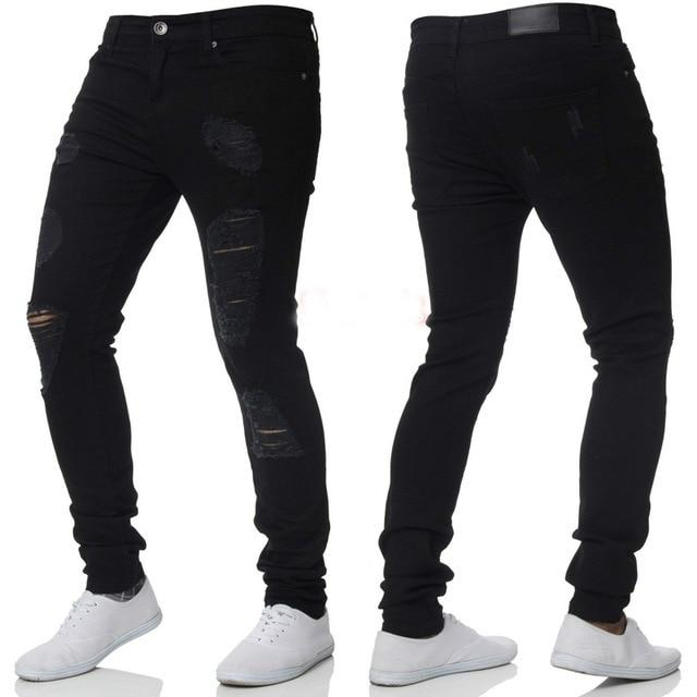 Free shipping Skinny Jeans Pants Men Brand New Stretch Destroyed Ripped Jeans for Men Hip Hop Streetwear Denim Trousers Men Jeans Homme