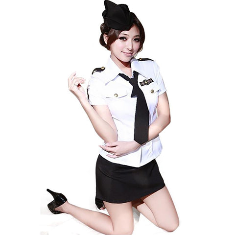 Sexy Policewoman Costume Officer Ladies  Fancy Dress Adult Cops flight attendant Uniform