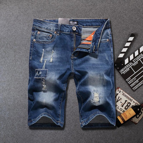 Free shipping Summer Fashion Men's Jeans Shorts Elastic Short Ripped Jeans Homme Knee Length Streetwear Punk Style Hip Hop Denim Shorts Men
