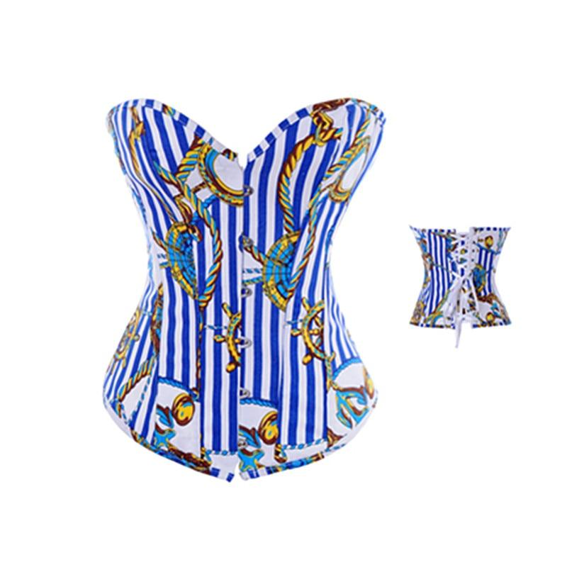 Vertical Stripe Corset Blue Bustier Overbust Corset Push Up Corset Top Woman Sexy Sliming Body Shapewear