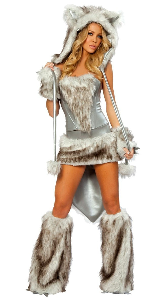 Animal Wolf Cat Faux Fur Costume Free shipping Women Halloween Fancy Party Dress Carnival Sexy Cat Cosplay Outfits Stage Costume