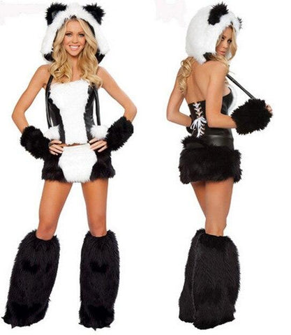 Duluxe Black White Wolf Polar Bear Cat Frisky Halloween Cosplay Costume Outfit Fancy Dress W/ Big Tail For Woman