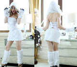 Free shipping  sexy Animal Costumes White Ape Man cosplay costumes Polar bear costumes Halloween costumes for women size