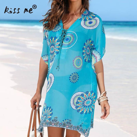 Lace up V-neck Beach Dress Hollow Beach Cover Up Chiffon Women's Tunic Blue Printed Beachwear Cover-Ups Summer Dresses for Women