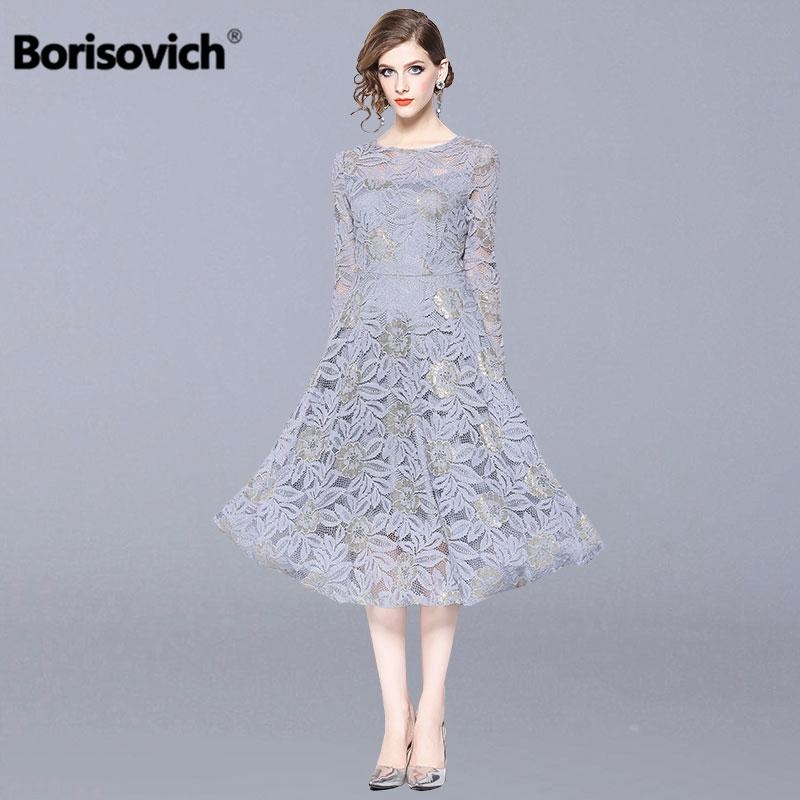 Borisovich Women Casual Long Dress Autumn Fashion Hollow Out Lace Big Swing Luxury Elegant Ladies Party Dresses