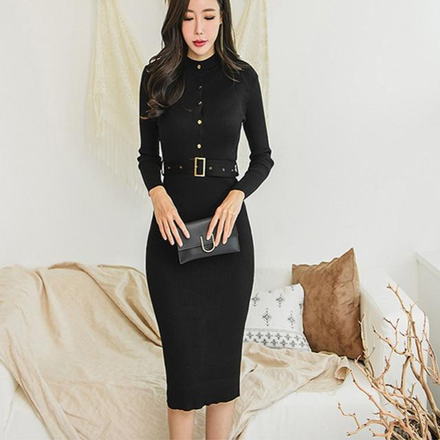 Elegant Single Breasted Women Sweater Dress O-neck Full Sleeve Sashes Stretch Female Knee-length Knitted Dress