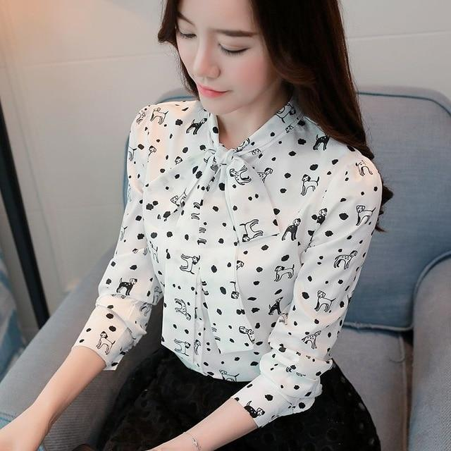 Free shipping Cute Dog Print Women Blouse Chiffon Shirt Lace Up Collar Bow Long Sleeve Top S-XXL White Pink