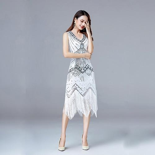 Vintage Flapper Great Gatsby Party Dress V-Neck Sleeveless Sequin Beaded style Style Tassel Flapper