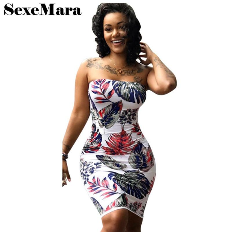 ANJAMANOR Free shipping Summer Bandage Dress Plus Size Floral Print Sexy Clubwear Strapless Mini Bodycon Party Dresses