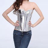 Silver Front Zipper Sexy PVC Corset Top Steampunk Corsets And Bustiers Gothic For Women Corset