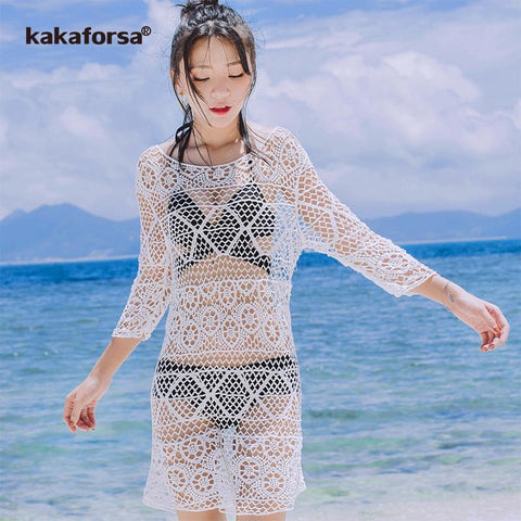 Kakaforsa Free shipping Sexy Crochet Beach Cover up White Hollow Out Swimwear Beach Dress Summer Knitted Bikini Cover Ups Praia