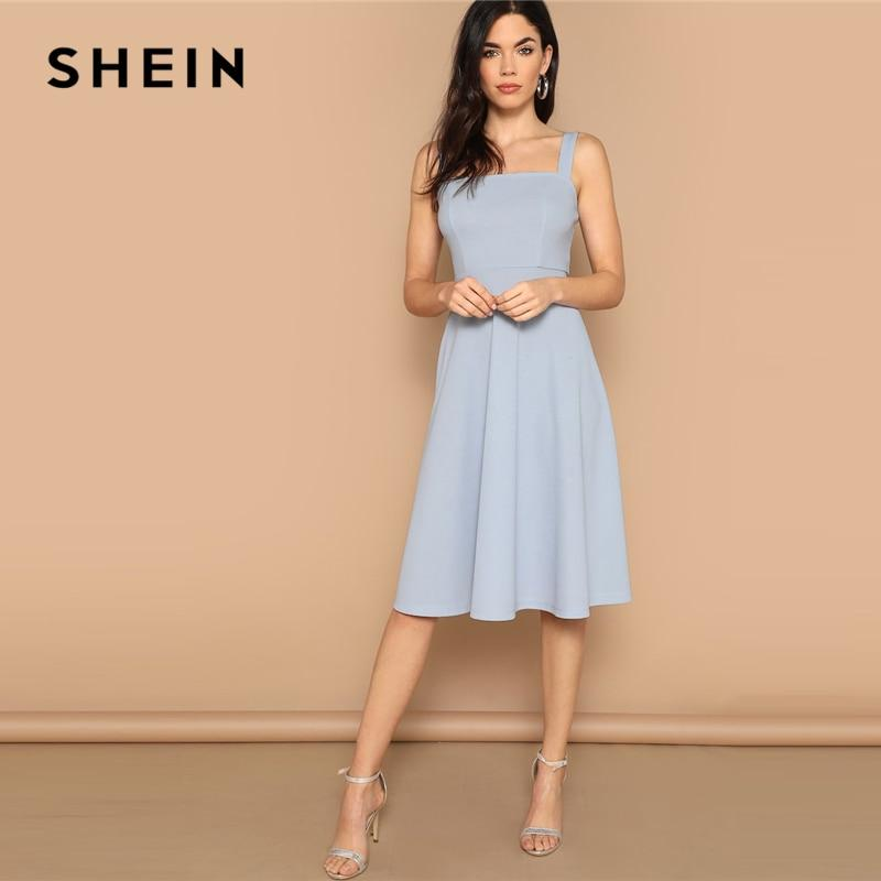 SHEIN Blue Zip Back Fit and Flare Tank Midi Dress Spring A Line Fit And Flare High Waist  Sleeveless Elegant Dresses