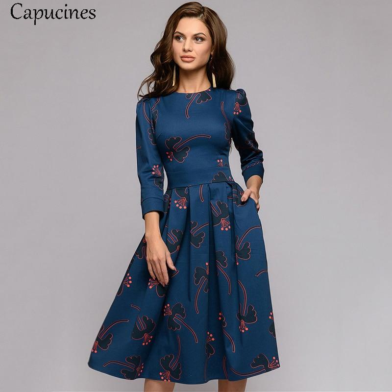 Capucines  Spring  Summer Elegant 3/4 Sleeve floral Print Dress Women Casual O-Neck A Line Dresses