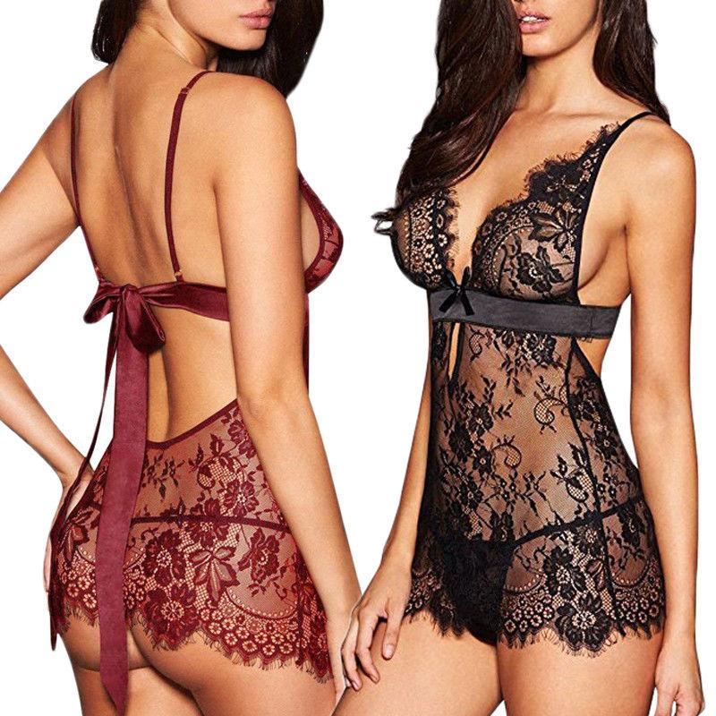 Woman Female Exotic Sexy Lingerie Lace Dress Babydoll Women Underwear Nightwear Sleepwear Plus Size S-XL
