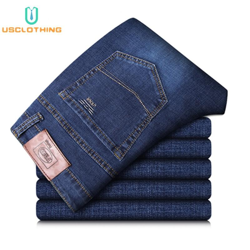 Free shipping New Jeans Men Classic Business Jeans Fashion Casual Primary Color Slim Fit Straight Male Trousers Denim Pants Brand Clothes