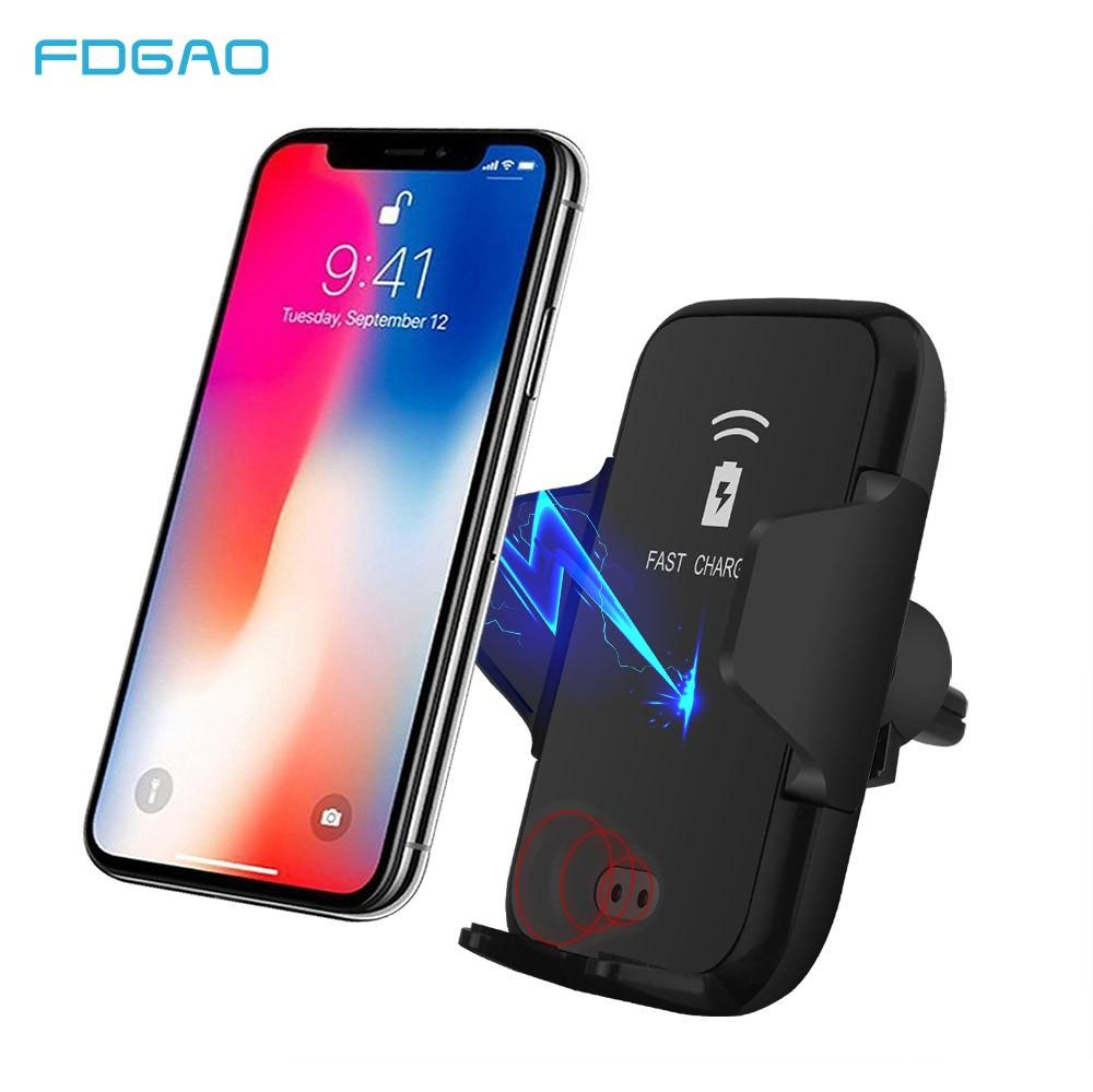 FDGAO QI Fast Qi Wireless Car Charger 10W Automatic Clamping Car Phone Holder for iPhone 8 X XR XS Max Samsung S10 S9 S8 Note 9