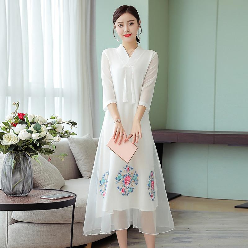 White Dress Embroidery Floral Elegant Vintage Chinese Party Dresses Women Summer Plus Size Large Midi Robe White Clothing