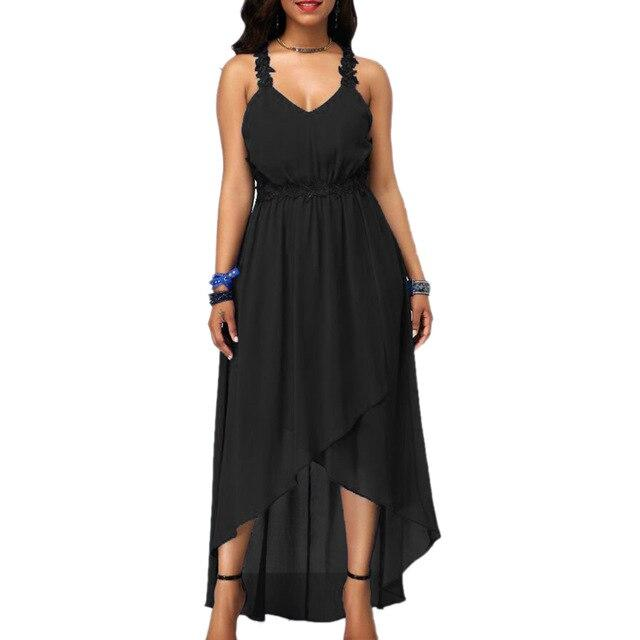 Embroidered Free shipping women Plus Size Solid Color Party Lady V Neck Sleeveless Backless Irregular Maxi Dress