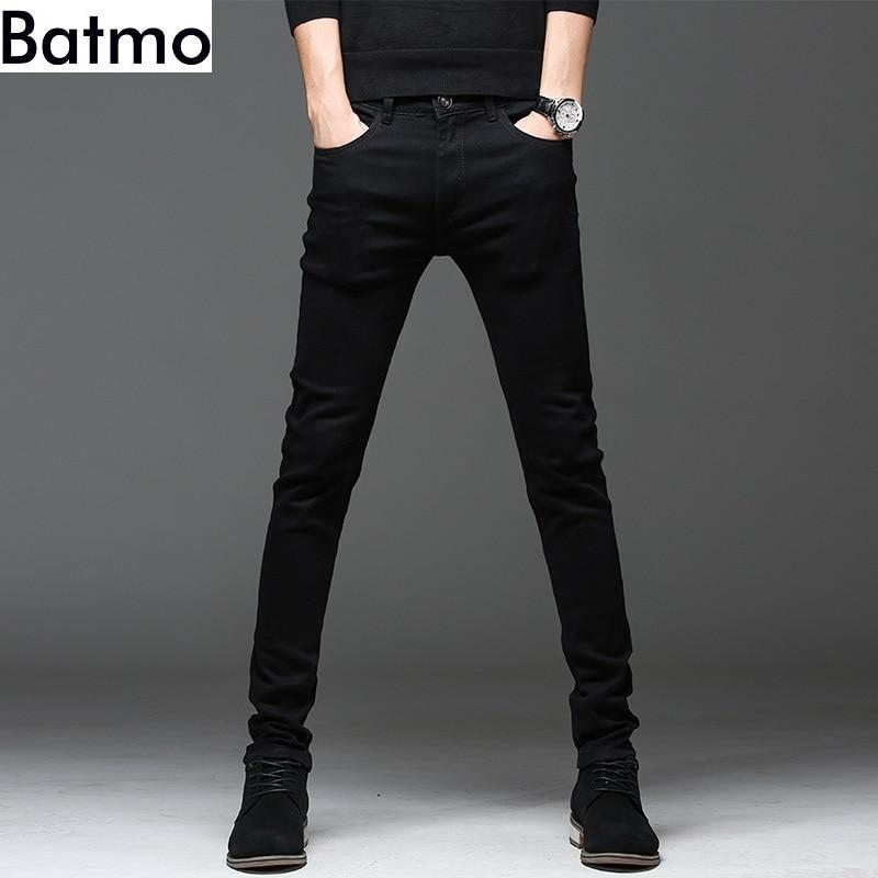Free shipping Batmo  new arrival high quality casual slim elastic black jeans men  pencil pants  skinny jeans men