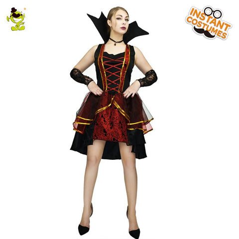 Women Vampire Costumes Bloodsucker Cosplay Halloween Women Vampire Dress Party Costume