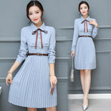 Summer Chiffon Sky Blue Draped Midi Dress Bohemian Elegant Club Party Dress Office Long Sleeve High Waist Dress