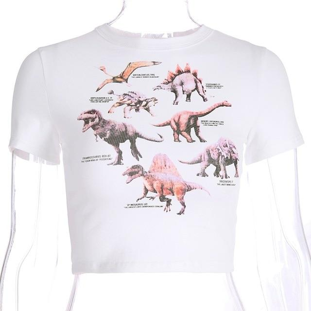 Dinosaur Printed Club Sexy Crop Top Women Summer Cotton T-shirt Women White Tops Tee Shirt Female Animal Funny