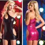 Patent leather piece body queen dress open coat leather suit nightclub show uniform temptation sexy underwear sexy lingerie