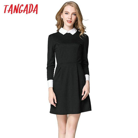Tangada winter School dresses fashion women office black dress with white collar Casual Slim vintage brand