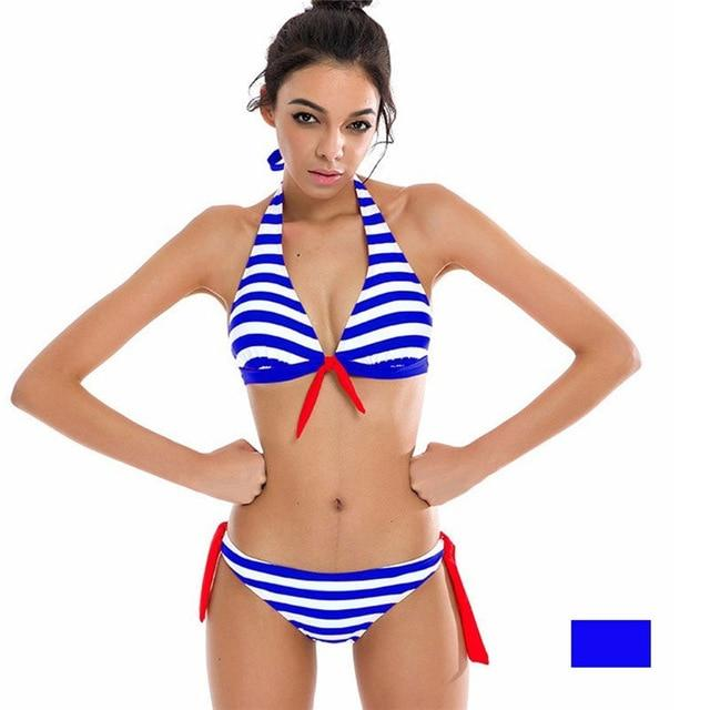 SEXYWG Bikini Set Push up Padded Swimsuit Sexy Swimming Bathing Wear for Women Stripe Two Piece Bikin Bottom Suits Bequikis