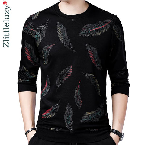 Free shipping designer pullover feather men sweater dress thin jersey knitted sweaters men's wear slim fit knitwear fashion clothing