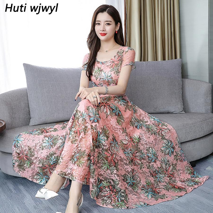 Bodycon Party Vestidos Elegant Women Floral Chiffon Boho Maxi Dress Summer Vintage 3XL Plus Size Print Beach Midi Sundress