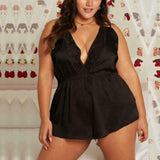 Free shipping Fashion Women Sexy Lace V-Neck Playsuit Backless Plus Size Lingerie Sleepwear