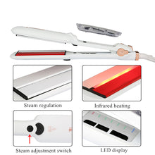Load image into Gallery viewer, Professional Steam Hair Straightener Ceramic Vapor Infrared Heating Flat Iron Steampod Salon 2 inch Styling Tool Wet hairstyler