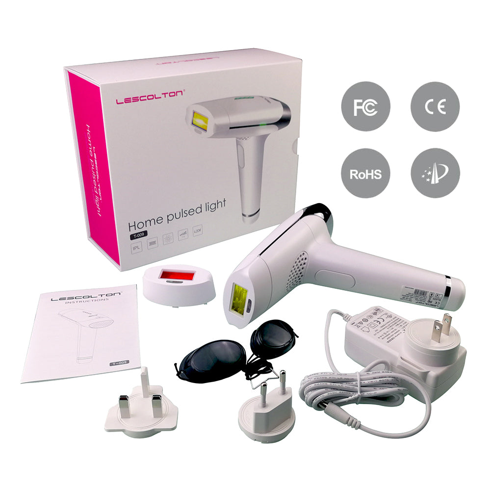 Lescolton 2 in 1 home pulsed light epilator IPL skin rejuvenation / permanent hair removal device, remove body hair / lip bikini