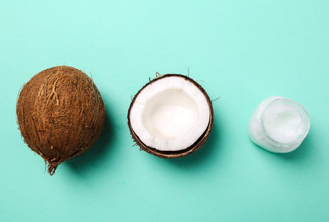 coconut oil benefits green background