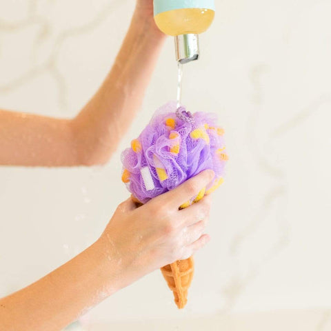 Nectar Bath Treats Large Purple Ice Cream Cone Exfoliating Sponge Exfoliating Body Sponge