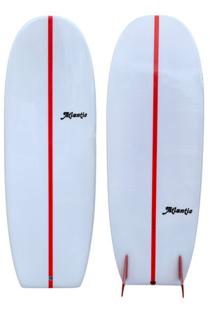 5'4 Shank in Ice White Red Stringer & Glass on Keels