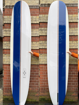9'6 Bing Continental in Custom Offset Navy/Glue Lines & rail spray