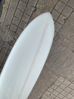 9'7 Jim Phillips Surfboards HPNR in JP Signature White Resin Tint.